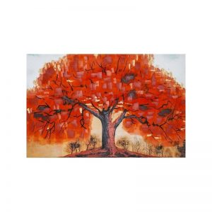 Tablou pictat manual Autumn Tree, 60x90cm