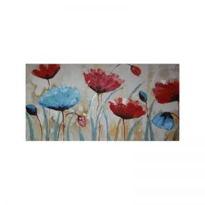 Tablou pictat manual Blue Poppy, 60x120cm
