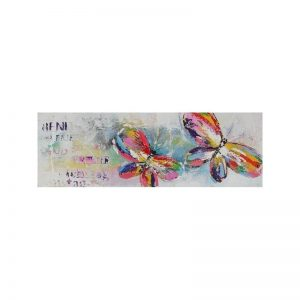 Tablou pictat manual Butterflies, 40x120cm