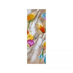 Tablou pictat manual Colorful flowers C, 90x30cm