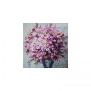 Tablou pictat manual Geranium roz, 60x60cm