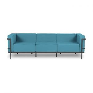 Canapea cu 3 locuri adecvată pentru exterior Calme Jardin Cannes, albastru - negru