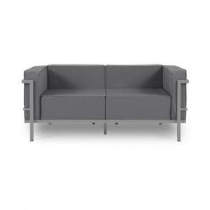 Canapea cu două locuri, adecvată pentru exterior Calme Jardin Cannes, gri grafit - gri