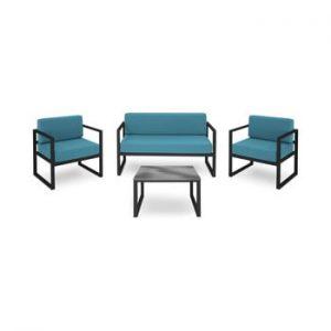 Set mobilier de grădină potrivit pentru 4 persoane Calme Jardin Nicea, albastru - negru