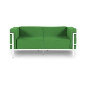 Canapea cu două locuri, adecvată pentru exterior Calme Jardin Cannes, verde - alb
