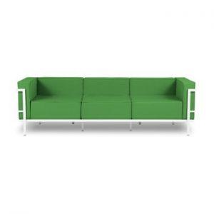 Canapea cu 3 locuri adecvată pentru exterior Calme Jardin Cannes, alb - verde