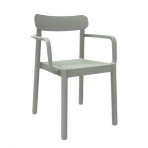 Set 4 scaune de grădină cu cotierei Resol Elba, gri verzui