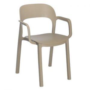 Set 4 scaune cu cotierei Resol Ona, maro nisipiu