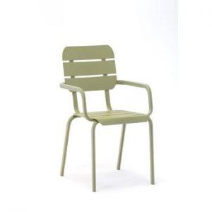 Set 4 scaune de grădină cu cotiere Ezeis Alicante, verde măsliniu
