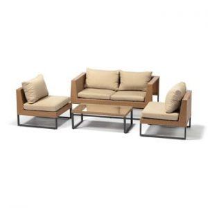 Set mobilier de grădină din ratan artificial Timpana Crystal, maro cappuccino