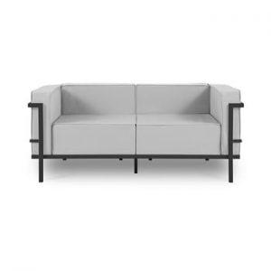 Canapea cu două locuri, adecvată pentru exterior Calme Jardin Cannes, gri - negru