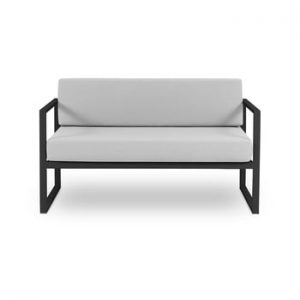 Canapea cu două locuri, adecvată pentru exterior Calme Jardin Nicea, gri - negru
