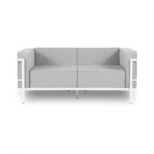 Canapea cu două locuri, adecvată pentru exterior Calme Jardin Cannes, gri - alb