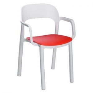 Set 4 scaune de grădină cu șezut roșu și cotiere Resol Ona, alb