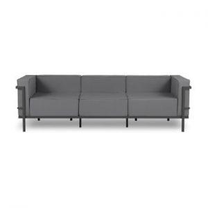 Canapea cu 3 locuri adecvată pentru exterior Calme Jardin Cannes, gri grafit - negru