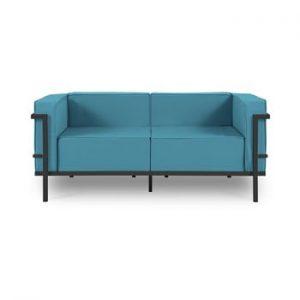 Canapea cu două locuri, adecvată pentru exterior Calme Jardin Cannes, albastru - negru