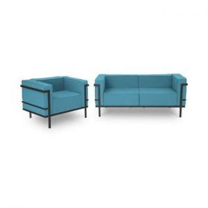Set mobilier de grădină potrivit pentru 3 persoane Calme Jardin Cannes, albastru - negru