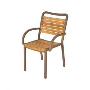 Set 4 scaune de grădină din lemn de tec cu cotiere Ezeis Typon