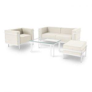 Set mobilier de grădină potrivit pentru 4 persoane Calme Jardin Cannes, bej - alb
