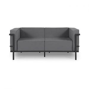 Canapea cu două locuri, adecvată pentru exterior Calme Jardin Cannes, gri grafit - negru