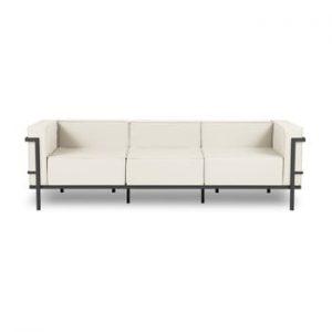 Canapea cu 3 locuri adecvată pentru exterior Calme Jardin Cannes, bej - negru