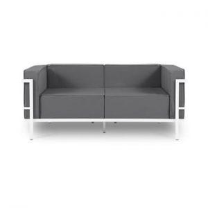 Canapea cu două locuri, adecvată pentru exterior Calme Jardin Cannes, gri grafit - alb