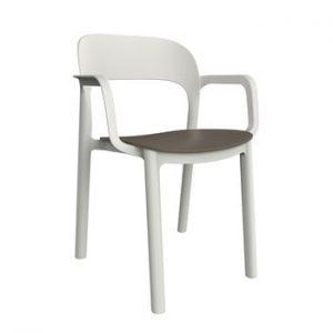 Set 4 scaune de grădină cu șezut maro și cotiere Resol Ona, alb