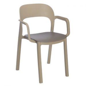 Set 4 scaune cu șezut maro și cotiere Resol Ona, maro nisipiu
