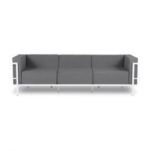 Canapea cu 3 locuri adecvată pentru exterior Calme Jardin Cannes, gri grafit - alb