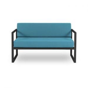 Canapea cu două locuri, adecvată pentru exterior Calme Jardin Nicea, albastru - negru