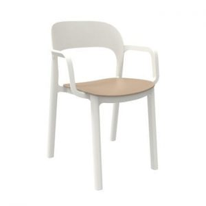 Set 4 scaune de grădină cu șezut maro nisipiu și cotiere Resol Ona, alb