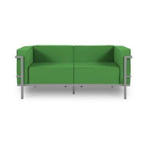Canapea cu două locuri, adecvată pentru exterior Calme Jardin Cannes, verde - gri