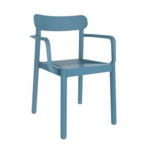 Set 4 scaune de grădină cu cotierei Resol Elba, albastru