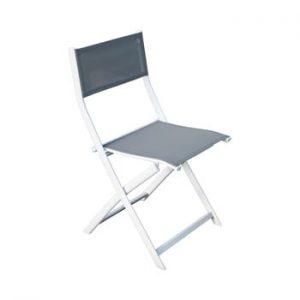 Set 2 scaune pliabile de grădină Ezeis Vegetal, gri - alb