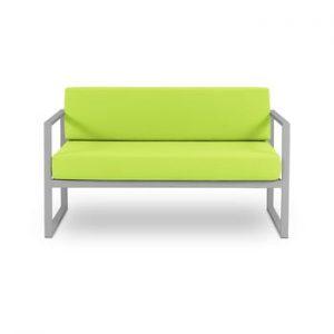 Canapea cu două locuri, adecvată pentru exterior Calme Jardin Nicea, verde lime - gri