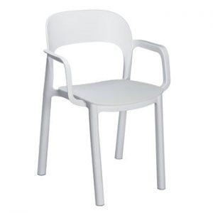 Set 4 scaune de grădină cu cotierei Resol Ona, alb