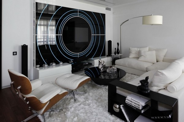 15 idei de amenajare living in alb si negru