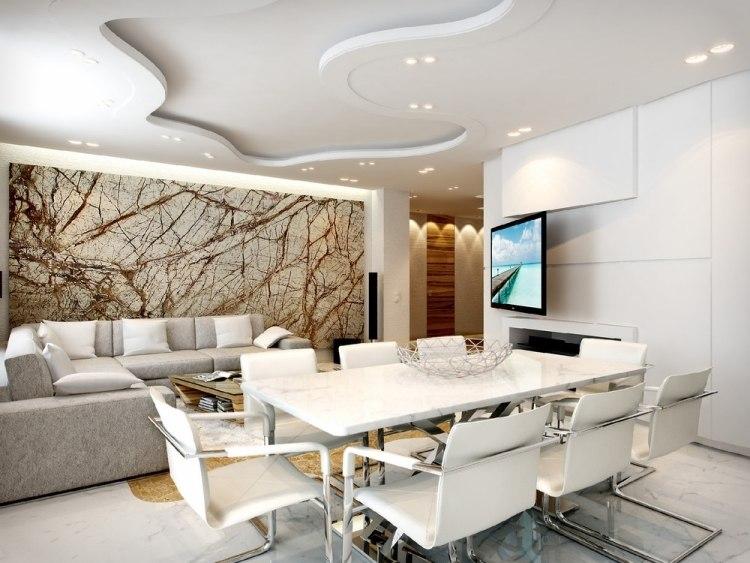 amenajare living modern alb cu perete amenajat modern