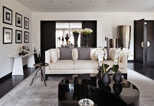 amenajare living modern in alb si negru cu multe flori