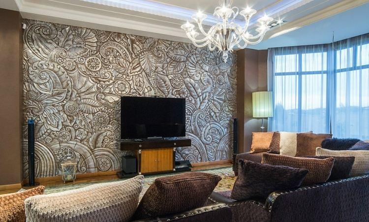 amenajare perete in living in stil clasic
