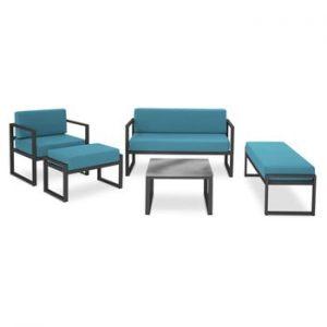 Set mobilier de grădină potrivit pentru 6 persoane Calme Jardin Nicea, albastru - negru