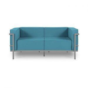 Canapea cu două locuri, adecvată pentru exterior Calme Jardin Cannes, albastru - gri