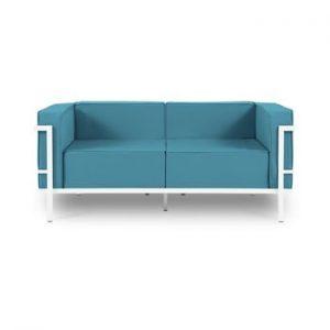 Canapea cu două locuri, adecvată pentru exterior Calme Jardin Cannes, albastru - alb