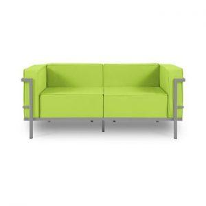 Canapea cu două locuri, adecvată pentru exterior Calme Jardin Cannes, verde lime - gri