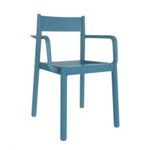 Set 4 scaune de grădină cu cotierei Resol Danna, albastru