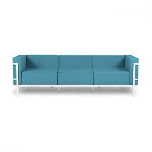Canapea cu 3 locuri adecvată pentru exterior Calme Jardin Cannes, albastru - alb