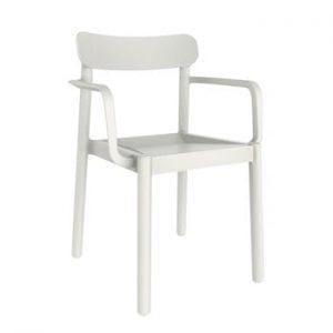 Set 4 scaune de grădină cu cotierei Resol Elba, alb