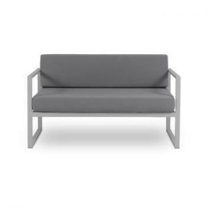Canapea cu două locuri, adecvată pentru exterior Calme Jardin Nicea, gri grafit - gri