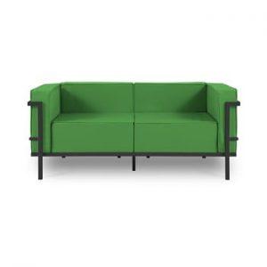 Canapea cu două locuri, adecvată pentru exterior Calme Jardin Cannes, verde - negru