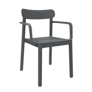 Set 4 scaune de grădină cu cotierei Resol Elba, gri închis